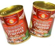 Свинина тушеная консервы. мясн.к усков. стер. 1с (338гр.) по ГОСТу
